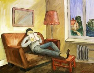 На диване